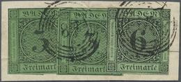 Brfst Baden - Marken Und Briefe: 1851/53, Ziffernausgabe 6 Kr. Schwarz Auf Grün Und Zweimal 1853, 3 Kr. Sc - Baden