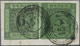 Brfst Baden - Marken Und Briefe: 1851/53, Ziffernausgabe 6 Kr. Schwarz Auf Grün Und 1853, 3 Kr. Schwarz Au - Baden