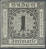 (*) Baden - Marken Und Briefe: 1853, Ziffernausgabe 1 Kr. Schwarz Auf Weiß, Ungebraucht Mit Neugummi, Fa - Baden