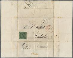 Br Baden - Marken Und Briefe: 1854, 3 Kr. Schwarz Auf Grün Auf Komplettem Faltbrief Aus Dem ZUCHTHAUS B - Baden