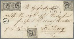 Br Baden - Marken Und Briefe: 1853, Ziffernausgabe 1 Kr. Schwarz Auf Weiss Als Paar Und Zwei Einzelmark - Baden
