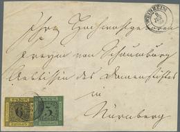 Brfst Baden - Marken Und Briefe: 1853, 3 Kr. Schwarz Auf Grün Und 6 Kr. Schwarz Auf Gelb (6 Kr. Unten Knap - Baden