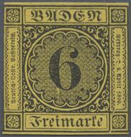 (*) Baden - Marken Und Briefe: 1853, Ziffern-Ausgabe 6 Kr. Schwarz Auf Gelb Mit Plattenfehler I, Einfass - Baden