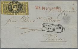 Br Baden - Marken Und Briefe: 1853, Kabinett-Faltbrief Mit Zweimal 6 Kr. Schwarz Auf Gelb (linke Marke - Baden