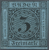 (*) Baden - Marken Und Briefe: 1883, Ziffernausgabe 3 Kr. Schwarz Auf Blau, Ungebraucht Ohne Gummi, Farb - Baden