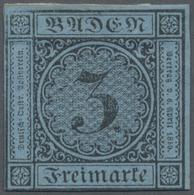 (*) Baden - Marken Und Briefe: 1858, Ziffernausgabe 3 Kr. Schwarz Auf Blau, Ungebraucht Ohne Gummi, Farb - Baden