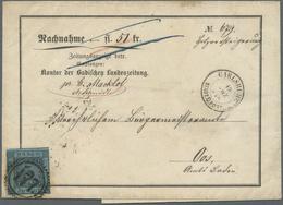 Br Baden - Marken Und Briefe: 1858, 3 Kr. Schwarz Auf Blau (rechts Berührt, Sonst Breit/überrandig) Auf - Baden
