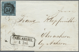 Br Baden - Marken Und Briefe: 1858, Ziffernausgabe 3 Kr. Schwarz Auf Blau, Einzelfrankatur Mit Frühdatu - Baden