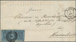 Br Baden - Marken Und Briefe: 1858, Zweimal 3 Kr. Schwarz Auf Blau (beide Einseitig Berührt, Sonst Voll - Baden