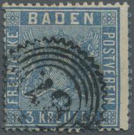 O Baden - Marken Und Briefe: 1860, 3 Kreuzer Lebhaftpreußischblau Mit Resten ROTER GUMMIERUNG, Gestemp - Baden