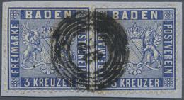 Brfst Baden - Marken Und Briefe: 1860, 3 Kr. Wappen, Briefstück Mit Zwei Einzelnen Exemplaren In Der Guten - Baden