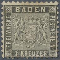 (*) Baden - Marken Und Briefe: 1862, Wappen Gestreifter Hintergrund 1 Kr. Grauschwarz, Ungebraucht Mit G - Baden