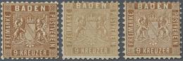 (*) Baden - Marken Und Briefe: 1862, Wappenausgabe 9 Kr. (linierter Hintergrund) In (seltener) C-Farbe D - Baden