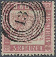 O Baden - Marken Und Briefe: 1862, 3 Kr. Wappen Mittelrosarot, Gez. K 13 1/2, Klar Entwertet Mit Numme - Baden
