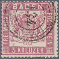 """O Baden - Marken Und Briefe: 1862, 3 Kreuzer Mittelrosarot Tadellos Gestempelt """"134"""". Michel 380,- € - Baden"""