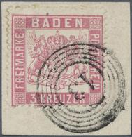 Brfst Baden - Marken Und Briefe: 1862, Wappenausgabe 3 Kr. Rosa Mit Enger Zähnung In Farbfrischer Und Einw - Baden