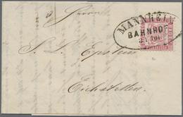 """Br Baden - Marken Und Briefe: 1868, 3 Kreuzer Als EF Mit Großem Oval-Stempel """"MANNHEIM BAHNHOF"""" Entwert - Baden"""