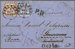 """Br Baden - Marken Und Briefe: 1862, 6 Kr. Ultramarin Und 9 Kr. Lebhaftrötlichbraun Je Mit DKr. """"FREIBUR - Baden"""