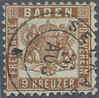 """O Baden - Marken Und Briefe: 1862, Wappen-Ausgabe Weisser Grund: 9 Kr. (dunkel)braun Mit Klarem K2 """"SE - Baden"""
