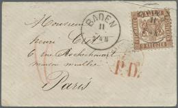 Br Baden - Marken Und Briefe: 1866, 9 Kr. Dunkelbraun, Seltenste Farbe. Farbfrisches Prachtvolles Exemp - Baden