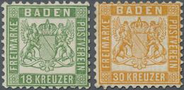 (*)/* Baden - Marken Und Briefe: 1862, Wappenausgabe 18 Kr. Grün Ungebraucht Ohne Gummi Und 30 Kr. In Bess - Baden