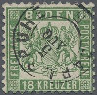 """O Baden - Marken Und Briefe: 1862, 18 Kr. Grün Mit K2 """"KARLSRUHE 5 AUG"""", Linke Obere Ecke Repariert, S - Baden"""