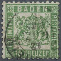 O Baden - Marken Und Briefe: 1862, 18 Kr. Wappen Lebhaftgrün, Gest. Mit Leichter Zähnungsunregelmäßigk - Baden