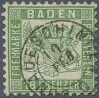 """O Baden - Marken Und Briefe: 1862, Wappenausgabe 18 Kreuzer Lebhaftgrün Mit Zentrischem K2 """"DONAUESCHI - Baden"""