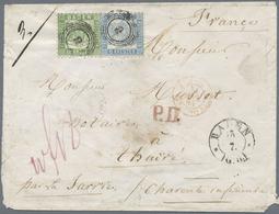 Br Baden - Marken Und Briefe: 1862, Wappen 18 Kr. Grün + 6 Kr. Preussischblau Zusammen Auf Couvert Nach - Baden