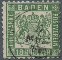 O Baden - Marken Und Briefe: 1862, Wappen 18 Kr. In Seltener Tiefer B-Farbe Dunkelopalgrün Mit Zentris - Baden