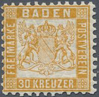 */** Baden - Marken Und Briefe: 1862, Wappen 30 Kr. In A-Farbe Gelborange, Gut Gezähnte Und Nahezu Postfr - Baden