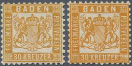 * Baden - Marken Und Briefe: 1862, Wappenausgabe 30 Kr. Zwei Werte In A-Farbe Gelborange Und B-Farbe G - Baden