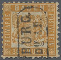 """O Baden - Marken Und Briefe: 1862, 30 Kr. Lebhaftgelborange, Entwertet Mit Kastenstempel """"...Burg""""., E - Baden"""