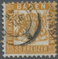 O Baden - Marken Und Briefe: 1862, 30 Kr. Lebhaftgelborange, Farbfrisches Exemplar In Dreiseitig Perfe - Baden