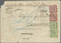"""Br Baden - Marken Und Briefe: 1868, Zweimal 1 Kr. Grün Und Zweimal 3 Kr.(Mgl.) Rot Mit K2 """"BONNDORF 25 - Baden"""
