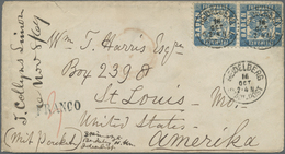 Br Baden - Marken Und Briefe: 1868, 7 Kr. Blau Im Senkrechten Paar (obere Marke Links Oben Eckrund) Auf - Baden