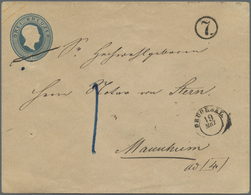 GA Baden - Ganzsachen: 1858: Großer Ganzsachenumschlag (Altersspuren) 3 Kreuzer Mattpreußischblau Mit K - Baden