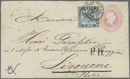 GA Baden - Ganzsachen: 1866, GA-Umschlag 3 Kr. Rosa, Abgenutzte Platte Mit Zusatzfrankatur 7 Kr. Blau ( - Baden