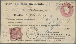 GA Baden - Zusatzfrankaturen Auf Ganzsachen: 1868, 3 Kr. Ganzsache (Mgl.) Mit 3 Kr. Zusatzfrankatur Und - Baden