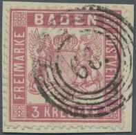 """Brfst Baden - Nummernstempel: """"66"""" JESTETTEN - Fünfring-Nummernstempel Auf Briefstück Mit 3 Kr. Mittelrosa - Baden"""