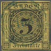 O Baden - Nummernstempel: 108 (Petersthal) BLAUER Klarer Idealer Nr.-St. Auf 1851, Wappenausgabe 3 Kr - Baden