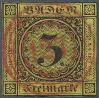 O Baden - Nummernstempel: 127 (Schiltach) ROTER Klarer Idealer Nr.-St. Auf 1851, Wappenausgabe 3 Kr Sc - Baden