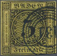 O Baden - Nummernstempel: 131 (Schwetzingen) DUNKELBLAUER Klarer Nr.-St. Auf 1851, Wappenausgabe 3 Kr - Baden