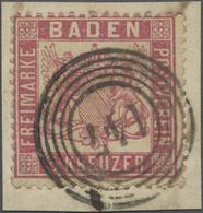 """Brfst Baden - Nummernstempel: """"147"""" - Albbrück, Klar Und Vollständig Auf Briefstück Mit 3 Kr. Rosakarmin M - Baden"""