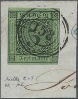 Brfst Baden - Nummernstempel: 158 (Wiesenbach) Zentrischer Klarer Nr.-St. Auf Briefstück Mit 1853, Ziffern - Baden