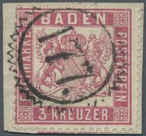 """Brfst Baden - Nummernstempel: """"177"""" KARLSRUHE STADT-POST ZACKENKRANZSTEMPEL Auf Briefstück Mit 3 Kr. Mitte - Baden"""