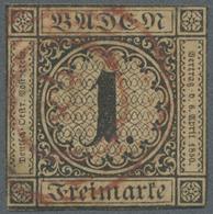 """O Baden - Ortsstempel: 1851, """"LADENBURG"""" Roter Fünfringstempel Mit Ortsnummer """"78"""" Auf Mi.Nr.: 1 B Mit - Baden"""