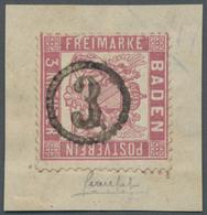 """Brfst Baden - Uhrradstempel: 1862, 3 Kr. Mittelrosarot Auf Briefstück Mit Uhrradstempel """"3"""", Kurzbefund Br - Baden"""