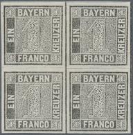 **/*/ Bayern - Marken Und Briefe: 1850, Ziffernzeichnung 1 Kr. Grauschwarz Auf Weiß, Platte 1, Allseits Vo - Bavaria