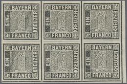 * Bayern - Marken Und Briefe: 1849, Ziffernzeichnung 1 Kr. Grauschwarz Auf Weiß, Platte 1, Ungebraucht - Bavaria
